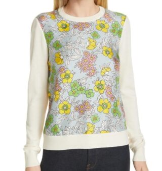"""For those of you where sweater weather continues, here's a pretty pullover by @toryburch that caught our eye. A perfect """"transitional"""" piece for warmer days and chilly nights, this cozy, merino wool will keep you comfy but not too toasty, and the fun floral print silk panel will keep your spirits lifted.  Now in the shop! Link in bio 👆   FOLLOW @theflowry for best in bloomcraft for people, spaces and occasions.   #floralfriday #floralfashion #floralstyle #spring #springfashion #springstyle #springlooks #transitionalstaples #sweaterweather #florallthings #floralchic #floralprint #floralphile #loveflowers #fashionstatement #fashiongram  #dailylooks #outfitoftheday #ootd #flowerista #bloombeam #shoptheflowry"""
