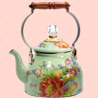 A bloom for every room…  Here's a roundup of our fav florals for living pretty… at home. Now in the shop, from left to right: 👈   🌼 If you like your tea green, then consider this @mackenziechilds Green Flower Market Enamel Tea Kettle, 2 quarts. Adorned with fanciful botanical decals.   🌼 Wild about wallpaper? Check out this @houseofhackney Artemis print for the decadent, romantic & whimsical.  🌼 This hippie chic Free Spirit flower print by @sistergoldenshop comes in 8X10 and  16X20. It's part of an original series of Balancing Mother Nature™ flower creations by owner & artist Vicki Rawlins.   🌼 Because you can never have too many vases, we love this this teal Millifiore Vase with painted floral accents, pretty even without the petals!  🌼 Drink pretty with these etched Floral Tumblers, set of 2.  🌼 This Parisien Rose Pitcher by Astier de Villatte X @johnderian screams magnifique! 18th-century inspired, and crafted in a traditional pottery style, this one-of-a-kind, posh pitcher features the iconic work of this decoupage artist. No two pieces alike.  🌼 Yep, we're going there 🤦🏼♀️ with this Floral Imprint TP Holder, also available in chrome & brushed bronze finishes, because... pretty powder room goals!  🌼 And, because homebody'ing calls for a style statement 🤷♀️ how about this breezy yet sophisticated Cleo Caftan in Midnight Onassis Floral by @tucker.nyc,  a day-to-night must! Or dare we say, lust.  Like what you see? The Flowry connects flower lovers with eco-conscious florists prioritizing American grown, seasonal flowers & sustainable design practices. Plus, a curated marketplace of floral fashion, home decor, art, gifts & more.   Visit our website (link in bio) 👆 for your next floral gifting occasion.  #floralfriday #grannychic #traditionwithatwist #floralprints #floralpattern #floralchic #floralfinds #flourish #homedecor #homedesign #homestyle #home #design #style #lifestyle #interiordesign #interiors #inspiration #interiorstyling #interiorinspo  #instahome #inst