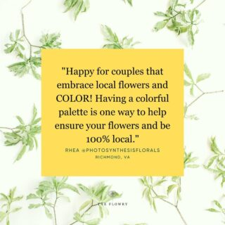 Attention #brides. 👰♀️ Loving this quote by one of our fave floral designers Rhea Calpeno @photosynthesisflorals in Richmond, VA whose floral style is strikingly wild yet sculptural, and palpably romantic.   Something as simple as choosing palette over petal specificity helps not just ensure you have flowers for your big day, but that they're 💯 local.   Which means you play a part in doing your part to lighten your environmental impact; support a local farming family; & bring the beauty of seasonality to your event - which is a level of special that can't be replicated.  Small changes matter.   ✔️ Know where & when your flowers blooms. Ask your #florist for local & #seasonal stems when & if available. As winter sets in, embrace greenery, foraged branches, interesting berries & cold hardy stems. We are still seeing dahlias, #celosia, #amaranth #gomphrena, #lisianthus, mums, marigolds, #statice, rudbeckia & #yarrow across much of the US.  ✔️ Request #nofloralfoam.  ✔️ Do without plastic wrap, flowers look good #naked.   ✔️ Don't assume dyed & dried flowers are done so naturally. Ask how. Once they're chemically altered, they they can't be composted, thus they contribute to the waste stream, greenhouse gases & #climatechange.   The Flowry connects #sustainability-minded consumers with #eco-conscious florists prioritizing American grown, seasonal flowers & sustainable design practices. Visit The Bloomlist (link in bio) 👆 for your next flower giving occasion.  Hey Florists! 💐 Reminder that we are now accepting applications for The Bloomlist! There is a brief vetting process to ensure alignment around our core values, & you may #PWYW (pay what you want) thru 12/31/21. A portion of proceeds from ALL paid listings will be donated to organizations working toward #environmental preservation & social justice. (More on this once we clarify our partnerships.)  Happy Monday!   #mondaymotivation #mantramonday #musings #quotes #empowerment #sayings #petalsofwisdom #flowers #florals